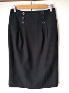 ATMOSPHERE Black Pin Striped Pencil Skirt . Size 10 . Fully Lined .
