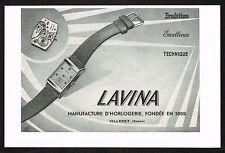 1950's Old Vintage 1950 Lavina Swiss Watch Co. Villeret - Paper Print AD