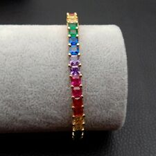 Rainbow Square cubic zironia Yellow Gold color fashion gift cuff bangle bracelet