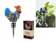NEW Country Cottage Rooster Glass Bottle Stopper by Twine – Decorative Wine