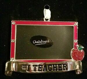 Cute #1 Teacher Chalkboard Christmas Ornament With European Crystals - NIP