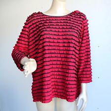 Nue Options Red Black Ruffled Stretch Shirt Top Plus Sz 3X