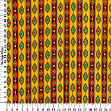 Fabric Tribal Indian African Stripes on Golden Yellow Cotton by the 1/4 yard