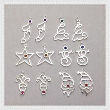 12 Santa Stocking Snowman Christmas Tree Charms Jewelry Bracelet Earrings X4