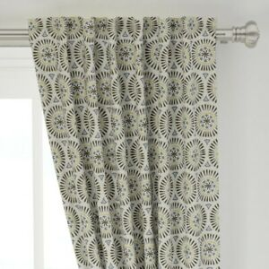 """Geometric Beige Charcoal Gray Boho Bohemian 50"""" Wide Curtain Panel by Roostery"""