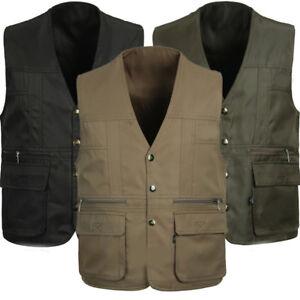 Men Multi Pocket Vest Gilet Fishing Hunting Travel Safari Outdoor Vest Waistcoat