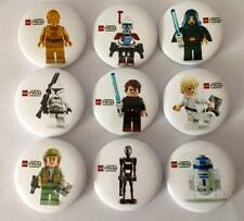 Lot of 9 Lego Star Wars Badges #2 - 3cms diameter - for party loot bags favours