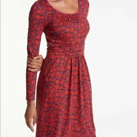 Boden Mabel Jersey Dress in Red and Blue Floral Pattern - Size US 14R