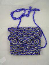 Nepal Beaded Blue/ silver Glass Bead Shoulder Purse/Evening Bag