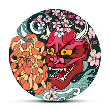 Gothic Red Oni Demon Mask Wall Clock Japanese Sakura Peony Flower Wall Art