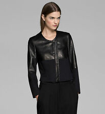 HELMUT LANG BLACK MOTION AND PONTE LEATHER JACKET SMALL