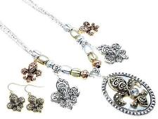 FLEUR DE LIS OVAL PENDANT DROP TRI TONE BEAD NECKLACE EARRING SET