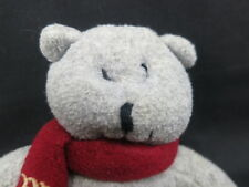 PICCOLO BAMBINO Grey TEDDY BEAR HAND RATTLE PB RED SCARF  PLUSH STUFFED ANIMAL
