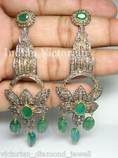 Victorian style 3.55ct Rose Cut Diamond & Emerald Earrings free shipping