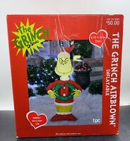 Gemmy Christmas Airblown Santa Grinch Decoration, Multicolored 4 Foot  Used