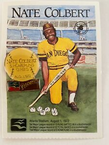 San Diego Padres NATE COLBERT 1989 Pin & Card Combo Great American Bank
