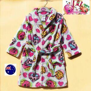 Girls Kids Children SHOPKINS Sleepwear Pajama Coat Nighties Bath Robe Gown 4-10y