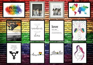 LGBT Wall Art Gay Lesbian Pride Rainbow Bedroom Quote Prints - Unframed Posters
