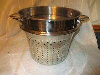 "Large Heavy Duty Stainless 10 1/4"" Pasta Pot Colander Strainer Steamer Insert"