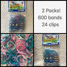 Loom rubber band Refill lot 600 Pcs Jelly Glitter Rainbow Pink Blue Clips Hooks