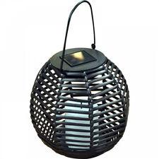 Nouveau energie solaire ronde en rotin jardin suspendu lanterne avec scintillement bougie led