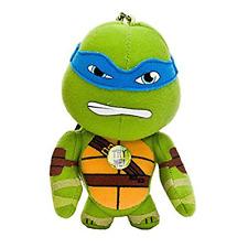 """Teenage Mutant Turtles Leonardo Talking Keyring 4"""" Plush 2 Catchphrases"""