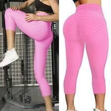 Pink Yoga Pants Anti-Cellulite Scrunch Butt Lift Leggings Capris Us Seller L/Xl