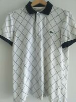 Mens Vintage LACOSTE Devanlay Polo Shirt  WHITE CHECK  Small Size 3 VGC