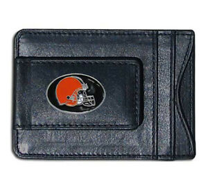 Cleveland Browns NFL Football Team Leather Card Holder Money Clip Wallet