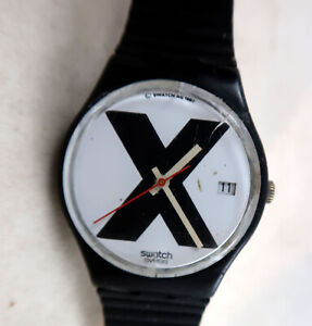 SWATCH  X-Rated Black GB406  Used with Damage Works Great 1987
