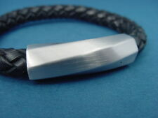 men's black genuine leather bracelet with s.steel magnetic clasp 1217