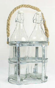 Set of 2 Glass Bottles in Metal Display Rack with Rope Handle - Home Decorations