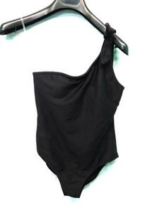 Old Navy M NWT Black Swim Suit One Shoulder Tie Bow Strap Ribbed Womens NEW Md