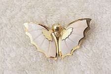 CLASSIC PIN BROOCH BUTTERFLY ANTENNA MONARCH INSECT WHITE OVERLAY GOLD TONE VL-N