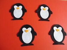 Felt large penguins x 8 black and white  applique sewing card making