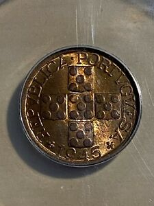 1945 Portugal 20 Centavos Graded MS 63 RB by ANACS!!