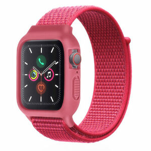 40/44mm Nylon Sport Loop+Case iWatch Band Strap for Apple Watch Series 6 5 4 SE