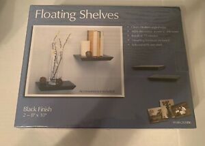 "Knape & Vogt Decorative Shelf Floating pair 8""x10"" Black"