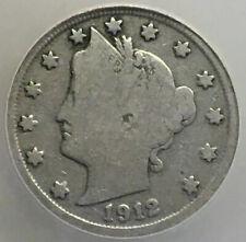 1912-S Liberty Nickel, VG 8, Struck Off-Center, Problem-Free Key Date!