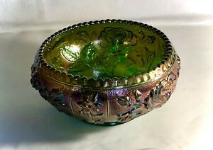 """Imperial Green Carnival Glass Open Rose 6 1/4"""" Round Bowl"""