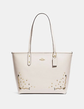 NWT COACH STARDUST CRYSTAL RIVETS CITY ZIP TOTE CHALK $378 F66906