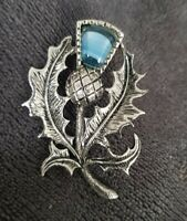 VINTAGE SILVERTONE SCOTTISH THISTLE BLUE BANDED AGATE BROOCH PIN