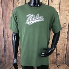 Vintage Nike Mens Large Green 100% Cotton Retro T-Shirt Made In USA RARE