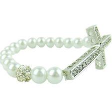 Fashion Cross Bracelet Women's Elastic White Pearl Crystal Chain Wedding Bridal