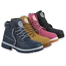 Worker Boots Damen Outdoor Stiefeletten Profil Sohle Leder-Optik 812887 Schuhe