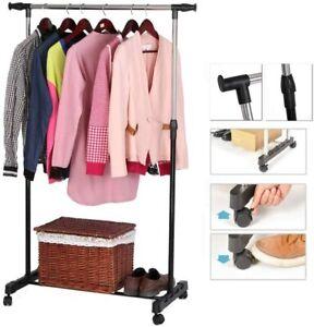Portant Penderie à vêtement hauteur réglable avec roulettes Porte manteau FR