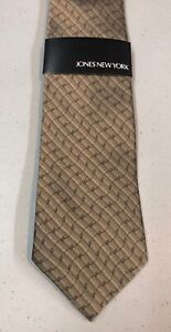 "NWT Jones New York Mens Necktie Tie Gold Silver Blue Geometric Silk 58"" NEW"