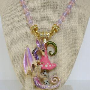Kirks Folly Enchanted Forest Dragon Magnetic Enhancer & Necklace Set Goldtone