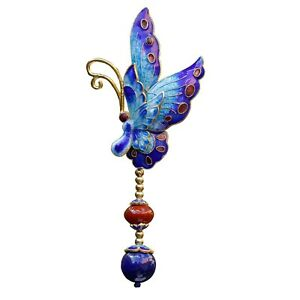 Nice Cloisonne Enamel Butterfly S925 Silver Lapis lazuli Agate Pendant Brooch 67