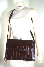 Vintage Jean Paul GAULTIER Brown Crocodile Stamped Leather Messenger Sling Bag